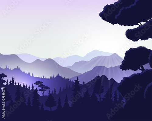 Foto auf Leinwand Flieder Natural background with mountains landscape.Vector
