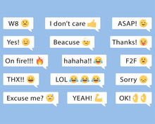 Speech Balloons With Messages And Emojis.Vector