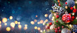 canvas print picture - Christmas Tree With Baubles And Blurred Shiny Lights
