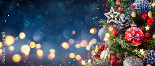 Christmas Tree With Baubles And Blurred Shiny Lights Wallpaper Mural