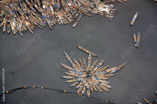Aerial view of fishing boats moored together in the port of Tema, Greater Accra, Canvas Print