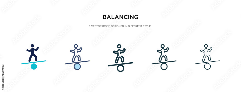 Fototapeta balancing icon in different style vector illustration. two colored and black balancing vector icons designed in filled, outline, line and stroke style can be used for web, mobile, ui