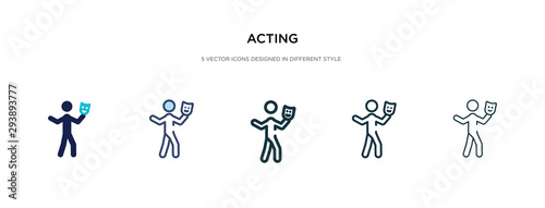 Photo acting icon in different style vector illustration
