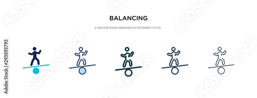 Leinwand Poster balancing icon in different style vector illustration