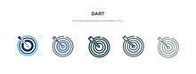 Dart Icon In Different Style Vector Illustration. Two Colored And Black Dart Vector Icons Designed In Filled, Outline, Line And Stroke Style Can Be Used For Web, Mobile, Ui