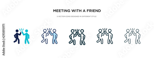 Obraz meeting with a friend icon in different style vector illustration. two colored and black meeting with a friend vector icons designed in filled, outline, line and stroke style can be used for web, - fototapety do salonu