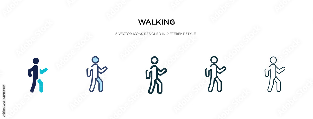 Fototapeta walking icon in different style vector illustration. two colored and black walking vector icons designed in filled, outline, line and stroke style can be used for web, mobile, ui