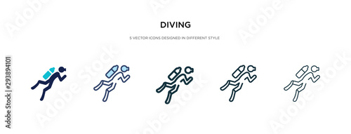 diving icon in different style vector illustration Fototapeta