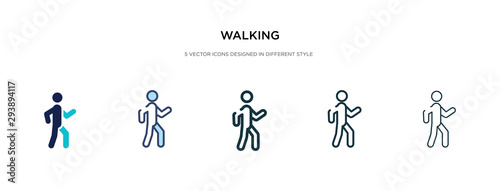 Obraz na płótnie walking icon in different style vector illustration