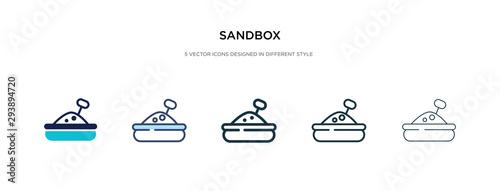 Photo  sandbox icon in different style vector illustration