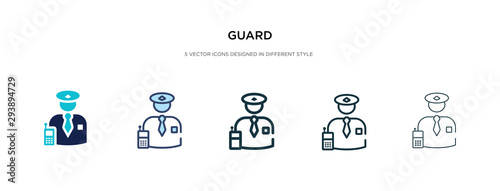 Fotomural guard icon in different style vector illustration