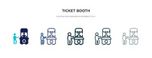 Ticket Booth Icon In Different Style Vector Illustration. Two Colored And Black Ticket Booth Vector Icons Designed In Filled, Outline, Line And Stroke Style Can Be Used For Web, Mobile, Ui
