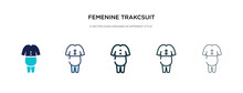 Femenine Trakcsuit Icon In Different Style Vector Illustration. Two Colored And Black Femenine Trakcsuit Vector Icons Designed In Filled, Outline, Line And Stroke Style Can Be Used For Web, Mobile,