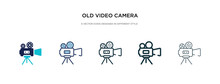 Old Video Camera Icon In Different Style Vector Illustration. Two Colored And Black Old Video Camera Vector Icons Designed In Filled, Outline, Line And Stroke Style Can Be Used For Web, Mobile, Ui
