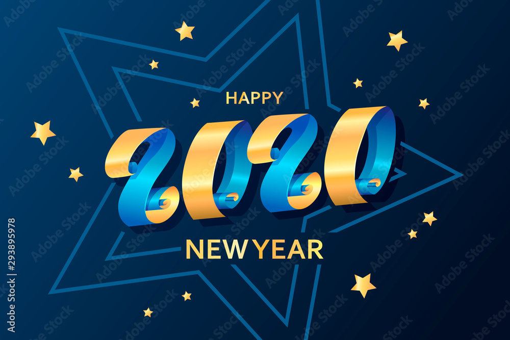 Fototapeta Happy New Year 2020. Ribbons and stars. Template for greeting card, invitation, poster, flyer. Decorative christmas banner. Lettering. Gold and blue colors. Vector illustration