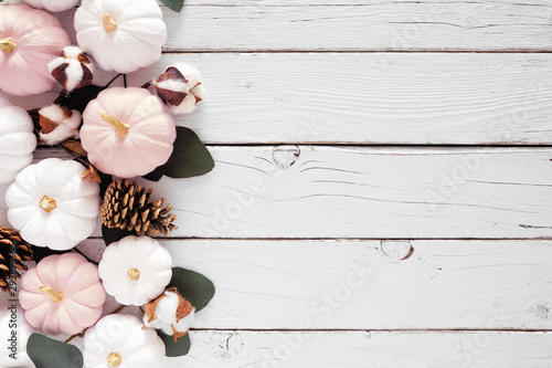 Fall side border of dusty rose and white pumpkins and eucalyptus leaves over a white wood background Poster Mural XXL