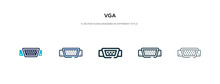 Vga Icon In Different Style Ve...