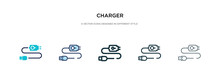 Charger Icon In Different Style Vector Illustration. Two Colored And Black Charger Vector Icons Designed In Filled, Outline, Line And Stroke Style Can Be Used For Web, Mobile, Ui