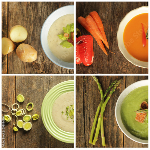 Photo Four soups on wooden background