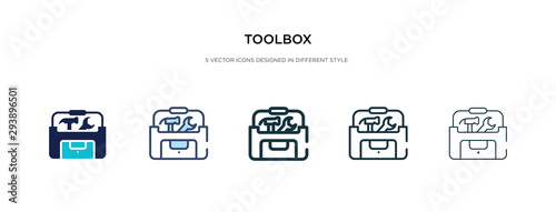 Obraz toolbox icon in different style vector illustration. two colored and black toolbox vector icons designed in filled, outline, line and stroke style can be used for web, mobile, ui - fototapety do salonu