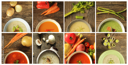 Collage of different kind of soup Wallpaper Mural