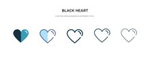 Black Heart Icon In Different Style Vector Illustration. Two Colored And Black Black Heart Vector Icons Designed In Filled, Outline, Line And Stroke Style Can Be Used For Web, Mobile, Ui