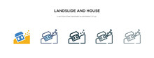 Landslide And House Icon In Di...