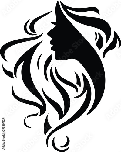 Hair Salon Logo Vector Silhouette Tablou Canvas