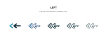 Left Icon In Different Style Vector Illustration. Two Colored And Black Left Vector Icons Designed In Filled, Outline, Line And Stroke Style Can Be Used For Web, Mobile, Ui