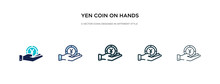 Yen Coin On Hands Icon In Different Style Vector Illustration. Two Colored And Black Yen Coin On Hands Vector Icons Designed In Filled, Outline, Line And Stroke Style Can Be Used For Web, Mobile, Ui