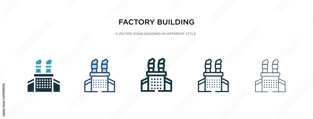 Fototapeta factory building icon in different style vector illustration. two colored and black factory building vector icons designed in filled, outline, line and stroke style can be used for web, mobile, ui