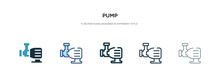 Pump Icon In Different Style Vector Illustration. Two Colored And Black Pump Vector Icons Designed In Filled, Outline, Line And Stroke Style Can Be Used For Web, Mobile, Ui