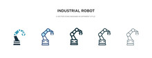 Industrial Robot Icon In Diffe...