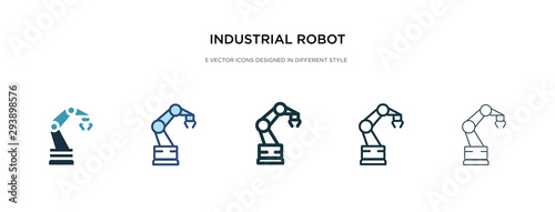 Foto industrial robot icon in different style vector illustration