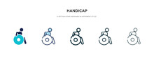 Handicap Icon In Different Style Vector Illustration. Two Colored And Black Handicap Vector Icons Designed In Filled, Outline, Line And Stroke Style Can Be Used For Web, Mobile, Ui