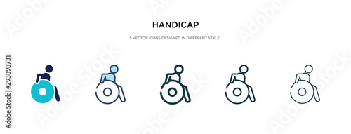 handicap icon in different style vector illustration Canvas Print