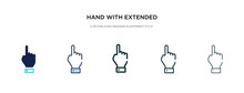 Hand With Extended Pointing Finger Icon In Different Style Vector Illustration. Two Colored And Black Hand With Extended Pointing Finger Vector Icons Designed In Filled, Outline, Line And Stroke