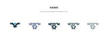 Hawk Icon In Different Style Vector Illustration. Two Colored And Black Hawk Vector Icons Designed In Filled, Outline, Line And Stroke Style Can Be Used For Web, Mobile, Ui