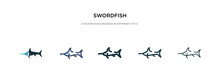 Swordfish Icon In Different Style Vector Illustration. Two Colored And Black Swordfish Vector Icons Designed In Filled, Outline, Line And Stroke Style Can Be Used For Web, Mobile, Ui