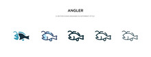 Angler Icon In Different Style Vector Illustration. Two Colored And Black Angler Vector Icons Designed In Filled, Outline, Line And Stroke Style Can Be Used For Web, Mobile, Ui