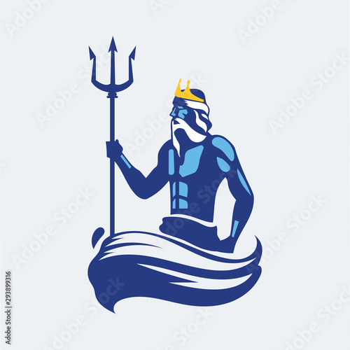 Valokuva Poseidon or Neptune wielding a trident with waves
