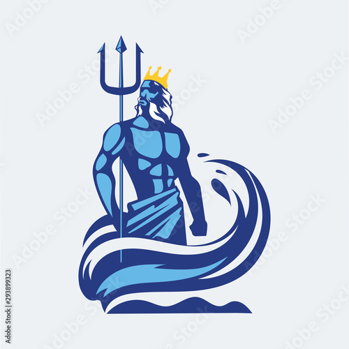 Obraz na plátně Poseidon or Neptune wielding a trident with waves
