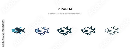 Fototapeta piranha icon in different style vector illustration