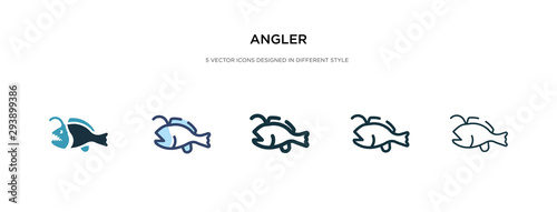 angler icon in different style vector illustration Canvas Print