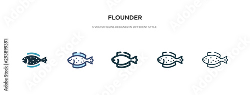 Cuadros en Lienzo flounder icon in different style vector illustration