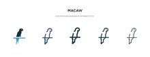 Macaw Icon In Different Style Vector Illustration. Two Colored And Black Macaw Vector Icons Designed In Filled, Outline, Line And Stroke Style Can Be Used For Web, Mobile, Ui