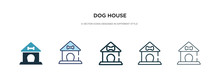 Dog House Icon In Different Style Vector Illustration. Two Colored And Black Dog House Vector Icons Designed In Filled, Outline, Line And Stroke Style Can Be Used For Web, Mobile, Ui