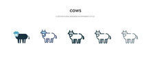 Cows Icon In Different Style V...