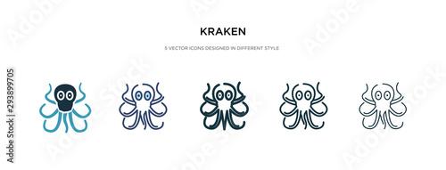 kraken icon in different style vector illustration Wallpaper Mural