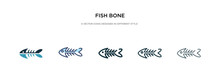 Fish Bone Icon In Different Style Vector Illustration. Two Colored And Black Fish Bone Vector Icons Designed In Filled, Outline, Line And Stroke Style Can Be Used For Web, Mobile, Ui